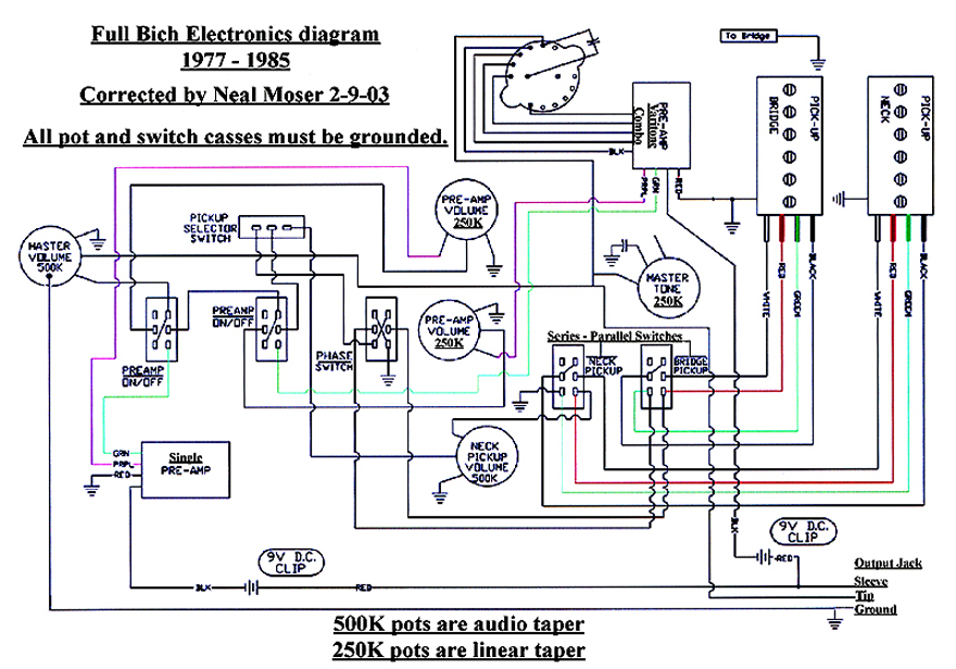 full vintage bc rich bich bass electronic circuit, pre wired Electric Guitar Diagram warlock guitar wiring diagram